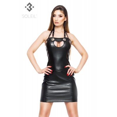 Minikleid in eco Leather schwarz, mit Peek a Boo Dekolte