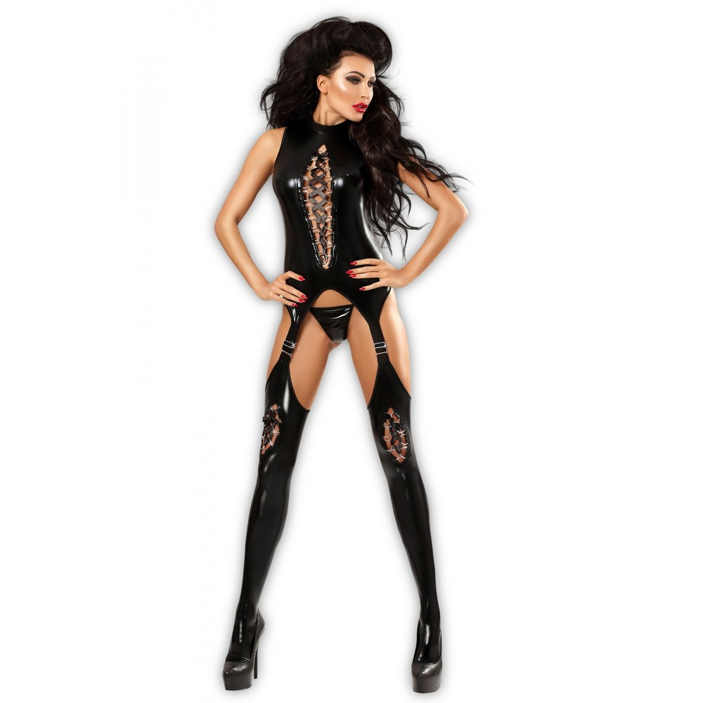Wetlook Bodystocking mit passendem T-String