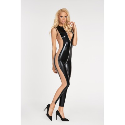 schwarz/beiges Wetlook Catsuit Cuzco