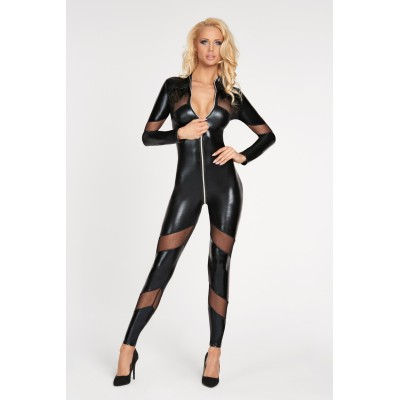 schwarzes Wetlook Catsuit Chancay