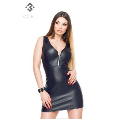 Minikleid in eco Leather mit Frontzipper im Dekolte