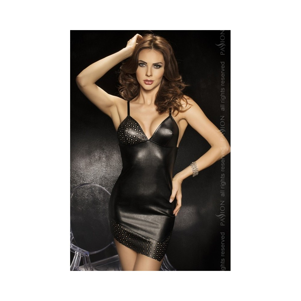 Minikleid Wetlook schwarz, second skin, mit String, GOGO und CLUB L/XL ( 40/42 )