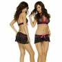 2310 Dessous Set Minirock,String+Top schwarz/pink S, M, L