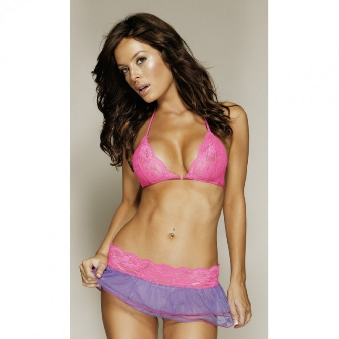 2504 Dessous Set Minirock,String+Top rosa / lila S, M