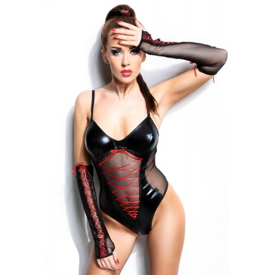 wetlook Body mit transparentem Tüll und Criss-Cross Schnürung S/M, L/XL