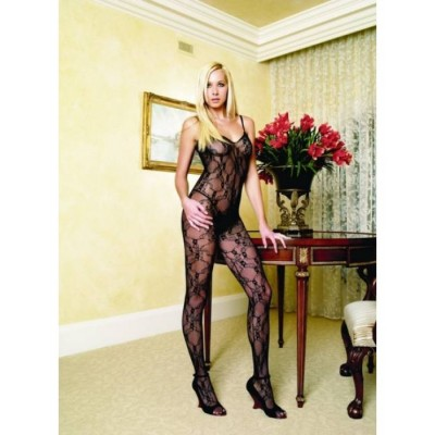 transparenter Bodystocking / Catsuit, flower design - ein Leg Avenue Highlight