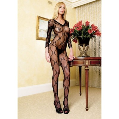 Floraler Bodystocking / Catsuit in rot