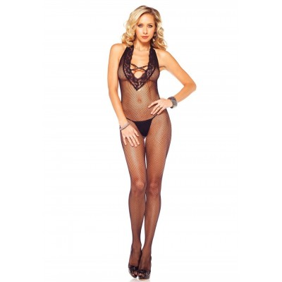 Bodystocking, schwarz, transparent mit opaquem Criss-Cross