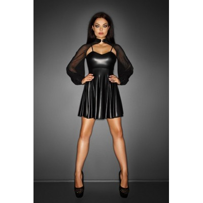 Minikleid wetlook mit transparentem Bolero