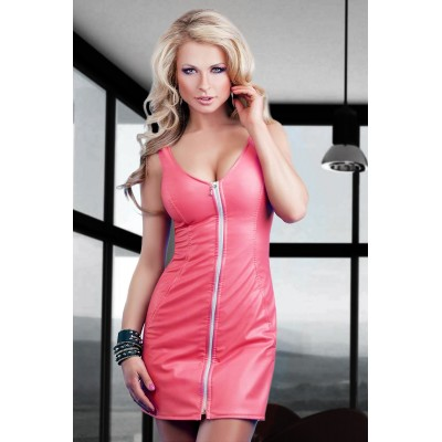 Minikleid in eco Leather pink mit Frontzipper