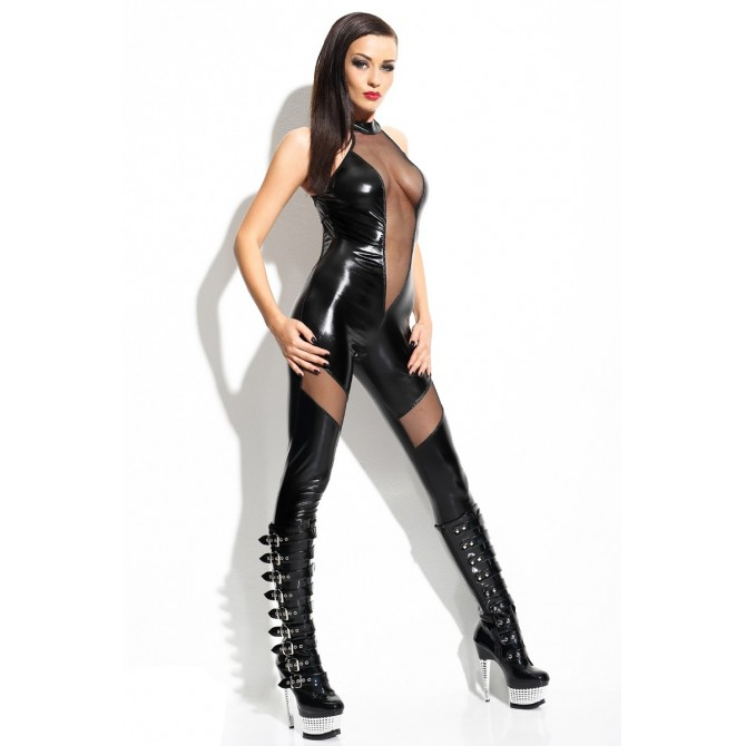 Mistress Catsuit wetlook schwarz