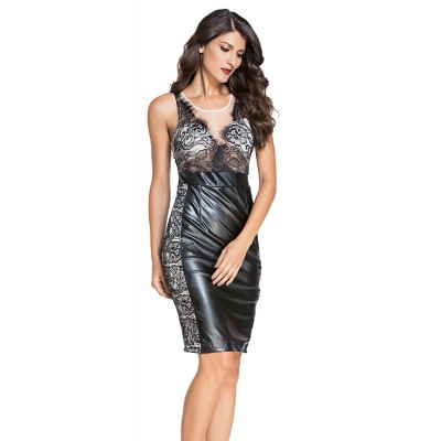 Wetlook Kleid schwarz mit nude illution Dekolte