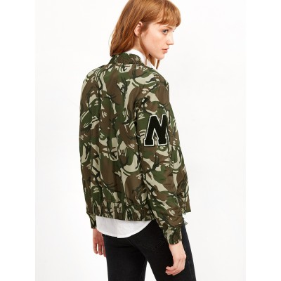 Bomberjacke in camouflage mit College Emblem