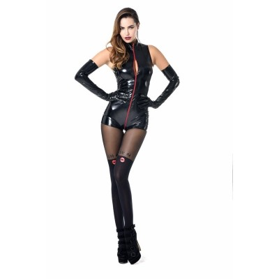 Playsuit Tweeny mit rotem Kontrastzipper