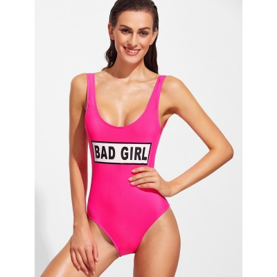 Hot Pink Letter Print One-Piece Monokini
