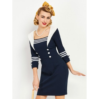 Retro Kleid zweireihiges Sailor Dress, S bis XXL