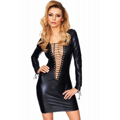 Wetlook Minikleid tief dekoltiert mit Criss-Cross