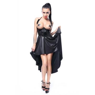 open bust Kleid asymetrisch, wetlook